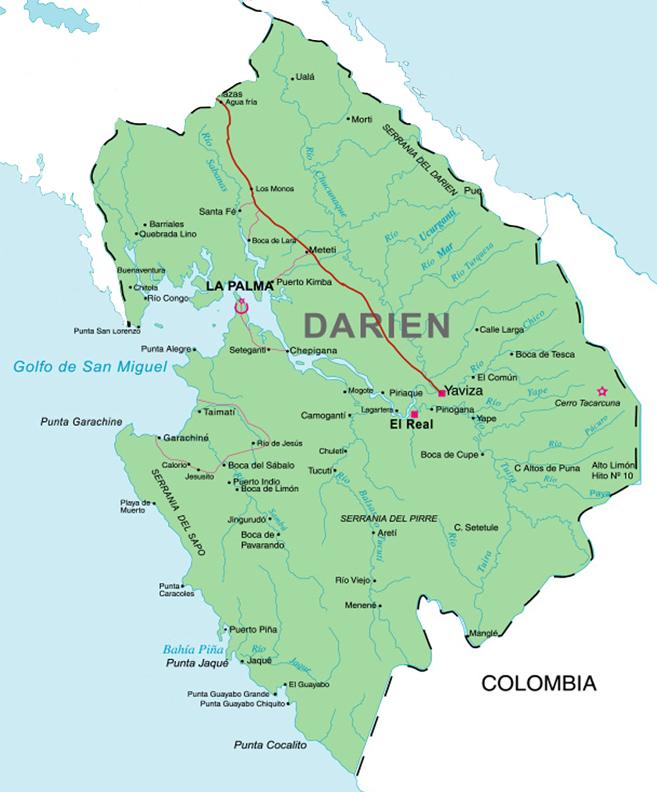Mapa Darien Panamá