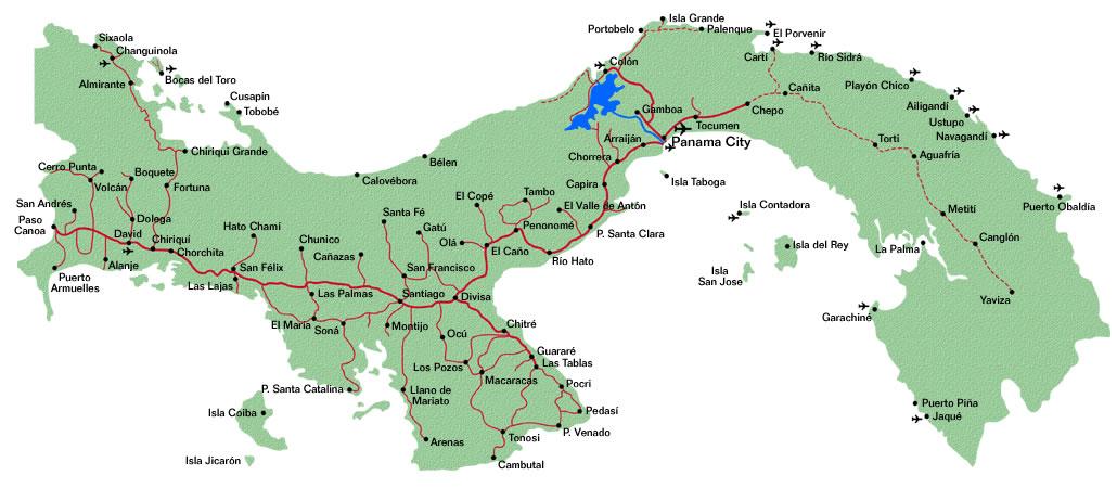 Mapa de carreteras Panamá